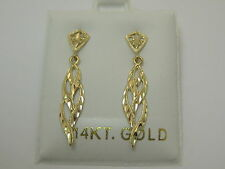 Solid 14K Yellow Gold Post Earrings Style 1196 Made In Usa