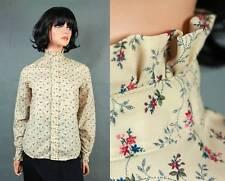 High Ruffled Collar Blouse S Vintage Beige Pink Calico Floral Prairie Girl Shirt