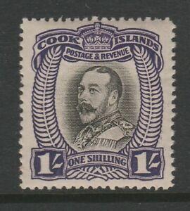 Cook Islands 1932 1/- Black & violet Perf 14 SG 105 Mint.