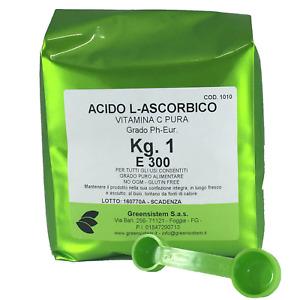 ACIDO ASCORBICO KG. 1 E300 + 1 MISURINO DA 1-2 GR. - GRADO PH-EUR