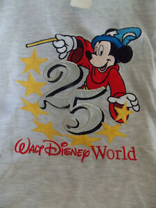 Walt Disney World 25th Anniversary Mickey Mouse Embroidered (L) T-Shirt NWT