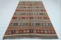 "Vintage Turkish Biga Nomads Rug, Striped Kilim, Living Area Rug, Carpet 64""X102"""