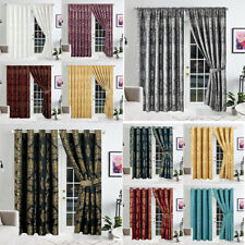 Jacquard Curtains Eyelet Ring Top Fully Lined Pencil Pleat Curtains + Tie Backs