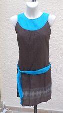 Robe ou Tunique Sans Manches Légère Marron Et Turquoise  In Extenso Taille 40