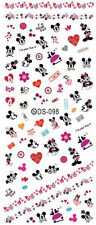 Mickey Minnie Hearts Flowers Kisses Love Water Transfers Nail Art Stickers Decal
