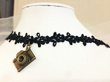 Black Lace Choker Cosplay Victorian Vintage Copper Camera Punk Collar Necklace