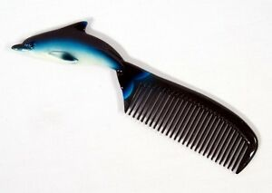 Hand Painted Blue Dolphin Comb D003D