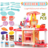 28PCS Kitchen Playset Pretend Play Toy Cooking Set With Light Sound Effect
