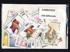 Cambodge - Cambodia 100 timbres différents oblitérés