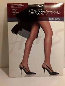 Hanes~Silky Reflections Pantyhose~Barely Black~Size: C/D~Silky Sheer Control Top