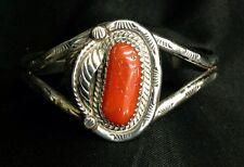 Sterling Southwest Style Coral Bracelet Stamped Design Local Oregon Artist