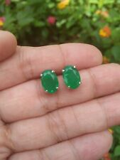 7.0x10.0mm FOREST GREEN DOUBLET EMERALD with Natural Quartz 925 Silver EARRINGS