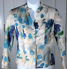 Coldwater Creek Floral Jacket Blazer Top Size 12 Womens Metal Snaps Blue Ivory
