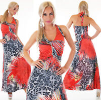 Jersey Cocktail Maxikleid Neckholder Deko Strass Leo Palme Print Kleid