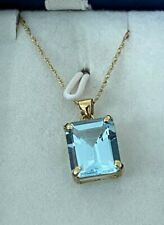 BLUE TOPAZ Emerald Cut PENDANT NECKLACE 10k GOLD NEW!