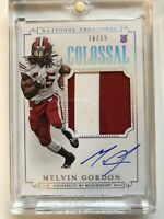 🔥 National Treasures Colossal Melvin Gordon RPA 2 Color Patch /25 Broncos 🔥