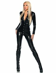 Super Sexy Front Button To Crotch Black Vinyl Catsuit (one size)