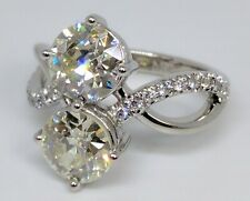 Moissanite Engagement Ring 14k White Gold Round Cut Swirl Duo Forever One