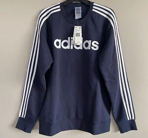 Adidas Essentials Mens 3 Stripes Fleece Logo Crew Neck Sweatshirt M Navy EI4901