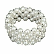 Wedding Bridal White Faux Pearl 5 Rowsretch Elastic Bangle Bracelet R7K7