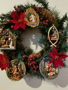 "Christmas Holiday Wreath Religious Icons Decoration 16"" Nativity Poinsettia"