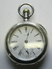 Watch Coin Silver Case Running Antique Waltham 85 18s 17j Pocket