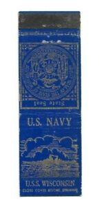 WWII Matchbook Cover Navy Ship USS Wisconsin BB-64 Battleship A623