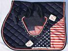 USA SADDLE PAD SET AMERICAN FLAG FLY VEIL HORSE EAR BONNET EQUESTRIAN 4TH JULY
