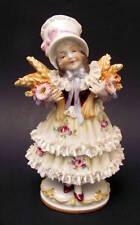 Antique Hand Painted Ernst Bohne Dresden Porcelain Child Figurine 1900