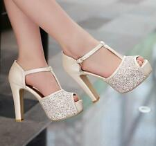 women summer Sequin Peep Toe Platform Block High Heels Wedding Party Shoes