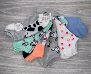Sofsole Lifestyle No Show 6 pair Sock Set Womens Shoe Size 5-10 Dog Heart Love