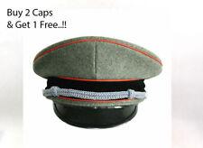 More details for ww2 elite german officer woolen military hat brimmed visor crusher cap size l