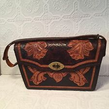 Vintage Mexican Leather Purse Tooled Stitched Leather Hand Bag Brown Floral