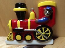 TRAIN WITH BEAR ENGINEER RED & YELLOW RESIN CHRISTMAS HOLIDAY TREE ORNAMENT CUTE