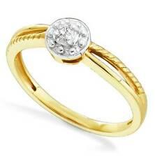 10K Bague or Jaune Diamant Minimaliste Diamant Solitaire .05ct