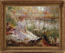 """Old Master Art Oil Painting Portrait of Lady Woman River 30""""x40"""" Unframed"""