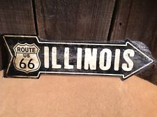 """Vintage Illinois Route 66 This Way Arrow Sign Directional Novelty Metal 17"""" x 5"""""""
