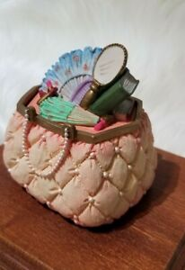 Vintage vanity purse makeup lipstick fan hand mirror Hidden keepsake box storage