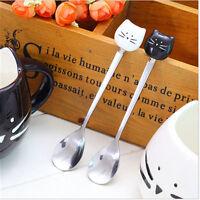 Cartoon Cat Stainless Steel Tea Coffee Spoons Ice Cream Cutlery Tableware Cute
