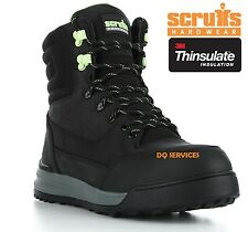 SCRUFFS GAME Mens Work Boots Warm Thermal Lined Leather Steel Toe Cap BLACK