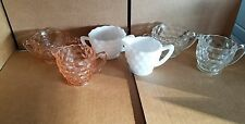Lot of 3 Fostoria American Small Sugar Bowl & Creamers White  Clear  Pink