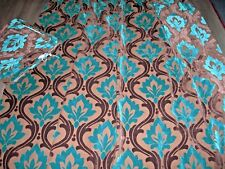 Teal blue chocolate brown lush cut velvet cotton mix weighty pr curtains