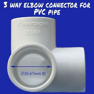 """3 Way elbow connector fittings fit PVC pipe 20mm white for bird netting 3/4"""" ABS"""
