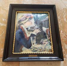 Renoir Helca Martele a la Main Femme Au Chien Framed Artwork Made in France