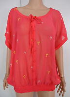 02 New Monsoon size S - XL Coral Chiffon Summer Holiday Print batwing top blouse