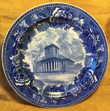"""Antique Wedgwood 9.25"""" Blue Transfer Plate King's Chapel Boston & Floral Plate"""