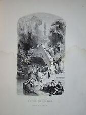 Gravure SCENE PECHE BUCOLIQUE HENRI BARON FISHING ROMANTISME 1860