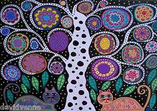 Mexican Folk Art Whit Tree orange cat flowers AMBROSINO ACEO Canvas Print