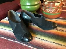 1930's Enna Jettick Black Perforated Suede Leather Slip on Oxford Shoes 6.5 Deco