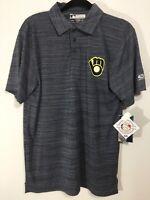 MLB Genuine Merchandise True Fan Gray Brewers SS Polo Shirt Mens Medium NWT